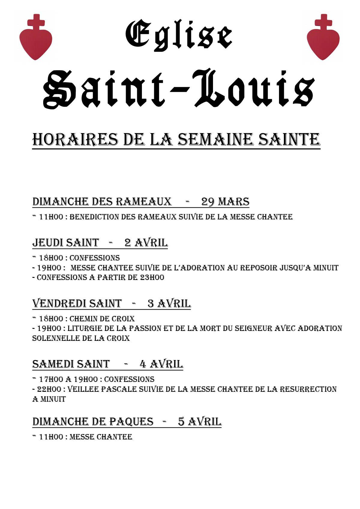 Programme semaine sainte 2015