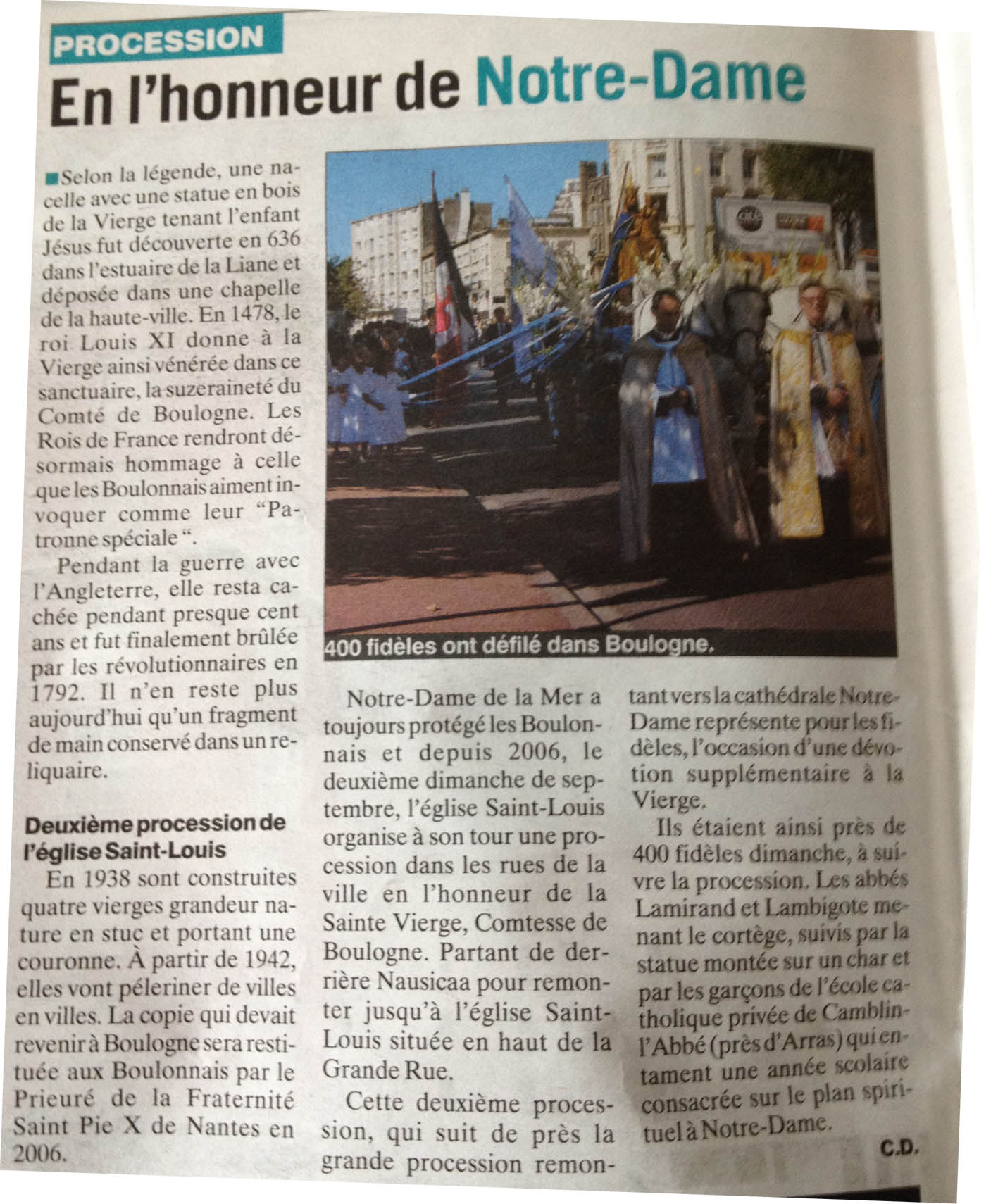 Procession 2012 - Article semaine boulonnais