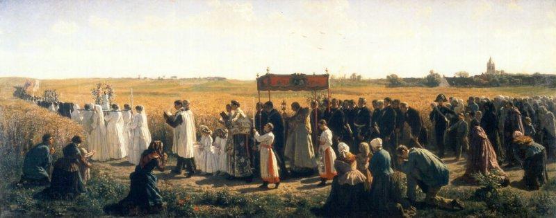 La procession des Rogations en Artois. Tableau de Jules Breton. Milieu du XIXe siècle